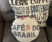 Round Cafe Do Brasil Coffee bag decor pillow Burlap and Cotton throw pillow Rustic up cycle