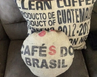 Round Cafe Do Brasil Coffee bag decor pillow Burlap and Cotton throw pillow Rustic up cycle