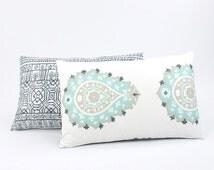 Teal Blue & Tan Reversible Lumbar Pillow Cover 12x20, Paisley Print, Teal Lumbar Pillow, Large Floral Print, Boho Home Decor
