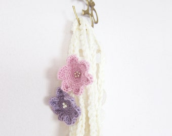 Boho crochet lariat scarf , lariat necklace with two crochet flowers brooch
