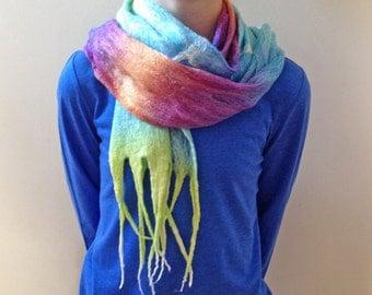 Wet Felted Scarf - Colorway Sochi / Rainbow / Merino / Bamboo / Silk / Gossamer Felted Scarf / Tassels - READY TO SHIP