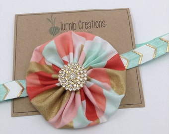 Coral, Mint & Gold Headband YoYo Headband  Metallic Headband Yo yo Headband Fabric Headband Newborn  Headband Photo Prop Girls Headband