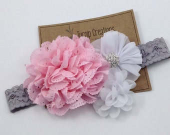 Pink, White & Gray Lace Headband Easter Headband Eyelet Flower Spring  Headband Boutique Headband Newborn Girls White Flower Headband