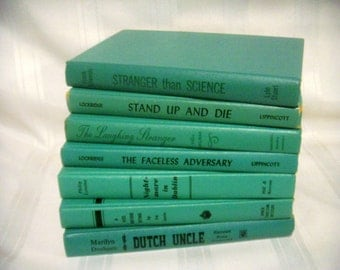 Seafoam Blue-Green Book Collection, Home Library Decor, Wedding Table Decor, Photo Props, Books by Color