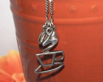 Sterling Silver Coffee Pendant, Coffee Beans, Steaming Coffee Cup, Necklace