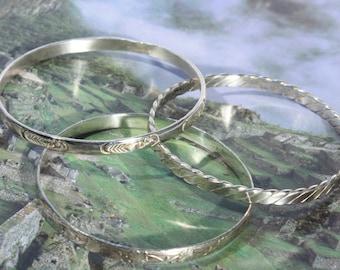 Set of Three Sterling Silver Bangles, Silver Bangle Bracelet