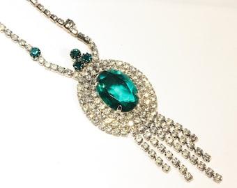 Emerald Green and White Rhinestone Lavalier Choker Necklace, Formal, Wedding, Bridal, Jewelry
