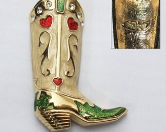 Bob Mackie, Cowboy Boot Brooch, Designer Jewelry, Fashion Jewelry, Western Brooch