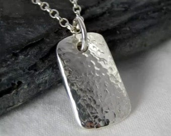 Sterling Silver Hammered/Textured Rectangular Pendant Necklace - Full UK Hallmarks - Handmade By CMcB Jewellery