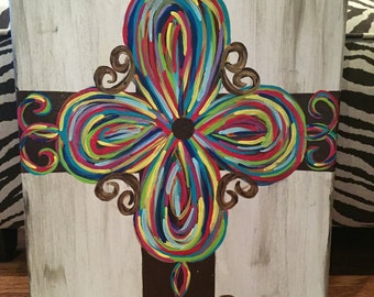Hand Painted Cross on Canvas