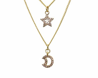 Micro Pave Moon and Star Layered Necklace. CZ Crescent Moon and Star Necklace in Gold or Silver. Adjustable Length. Crystal Jewelry.
