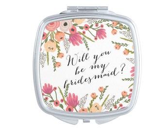 Bridesmaid Compact Mirrors, Pocket Mirror, Bridal Party Gift, Be My Bridesmaid gift