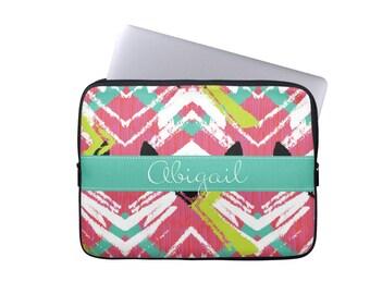 Personalized Laptop Sleeve, Monogram Laptop Case, Bright Chevron Laptop Case for MacBook, iPad