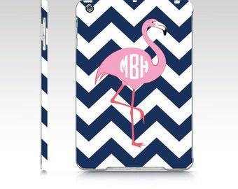 Personalized Flamingo iPad Air Case - iPad mini case, Monogrammed iPad Cover with Flamingo - Preppy iPad Case