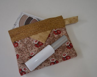 Cotton Cosmetic Pouch, Patchwork Quilted Snap Bag, Jewellery Pouch
