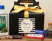 Bachelorette Favor Boxes // Hangover Kit // Bachelorette Weekend Survival Kit // Bachelorette Party Favor // Sparkle Bachelorette Label