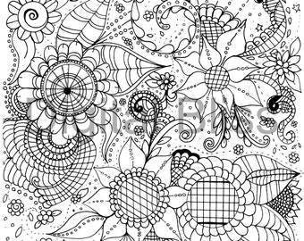 Adult Coloring Pages, Whimsical Flowers and Swirls Design, Adult Coloring Page, INSTANT DOWNLOAD,  Kids Colouring Page, Kids Craft Activity