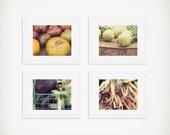 Vegetable Print Set, Food Still Life Photography, Farmers Market Print, Set of 4 Prints, Tomatoes, Carrots, Eggplant, Kitchen Art, Food Art