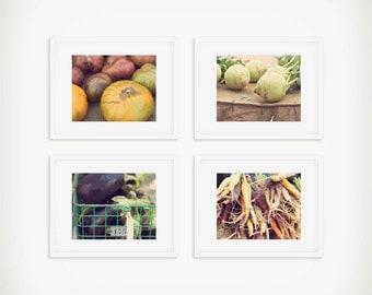 Vegetable Print Set, Food Still Life Photography, Farmers Market Print, Set of 4 Prints, Tomatoes, Carrots, Eggplant, Kitchen Art, Food Art