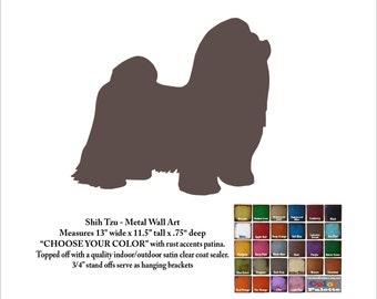 "Shih Tzu metal wall art - 13"" long - dog silhouette painted rusted steel - wall hanging - Choose your patina color - Shih Tzu Art canine art"