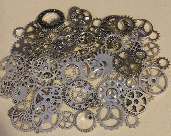 "40g  ANTIQUE SILVER 3/8""- 1"" Gears 25+ Pieces Lot New Steampunk Watch Parts Clock Wheels Connectors"