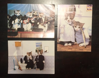Vintage Saturo Tuda set of 3 Cat Cards