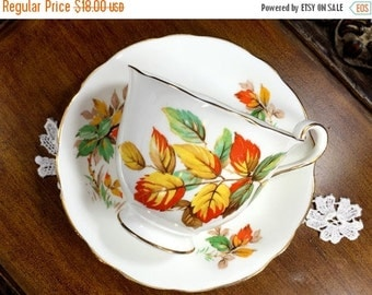 Radfords Teacup Tea Cup and Saucer - Autumn Leaves, Bone China 12837
