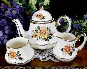 Sadler Marquee Teapot, Tea Pot Creamer and Sugar Set, Yellow Roses England 12906