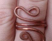 Copper wire ring. Unique. Thick gauge copper.