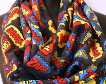 Comic Book Superhero Scarf - Nerd Geek Silky Infinity Scarf