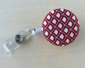 Retractable Badge Reel Holder - Red Scallop