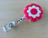 Retractable Badge Reel Holder - Bold Pink Flower