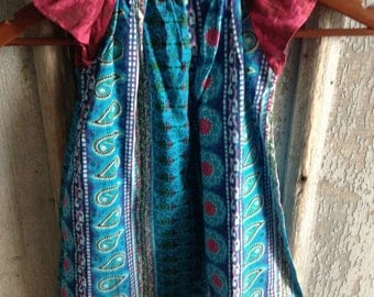 Indian Blue - Paisley and Stripes - Peasant Dress flutter sleeves- Sizes 9 12 Months 3 4 toddler 7 8 Years