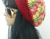 Winter Tams Berets Crochet Beanies Fall Fashion Slouchy Hats Women's Teen Girls Beanies In Strawberry Red Green Yellow Pink