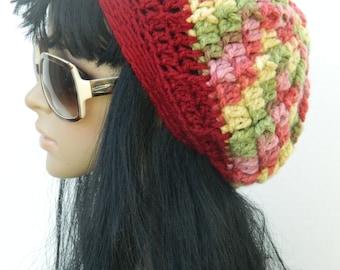 Winter Tams Berets Crochet Beanies Fall Fashion Slouchy Hats Women's Teen Girls Beanies In Strawberry Red Green Yellow Pink