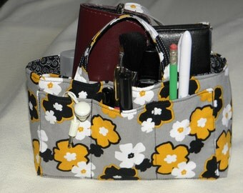 Purse Insert, Bag Organizer Insert with Handles, 12 Pockets, Swivel Key Clasp, Bucket Style; Organize, Handbag, Tote, Diaper Bag,Travel Bag,