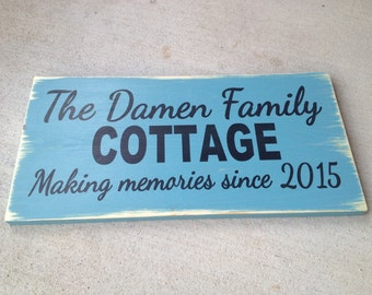 Personalized family cottage wooden sign for house warmings, weddings, anniversaries, housewarming by Dressingroom5