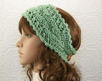 Crochet headband, head wrap, ear warmer - sea green - adult headband womens accessories winter fashion Sandy Coastal Designs ready to ship