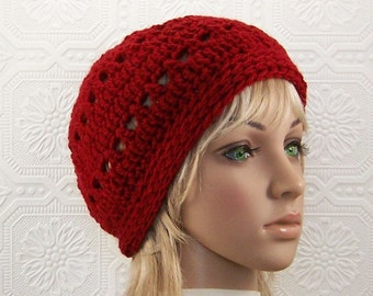 Hand crochet hat, beanie - brick red - Women's beanie Fall Fashion Winter Fashion Women's Accessories by Sandy Coastal Designs ready to ship