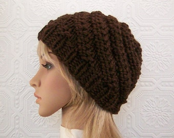 Hand knit hat - brown knit beanie - women's winter hat, women's accessories winter fashion chunky knit hat SandyCoastalDesigns ready to ship