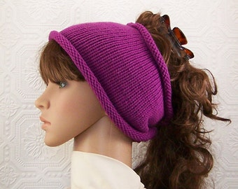 Knit dreadlock tube headband - grape color - winter accessories - womens knit headband gift for her Sandy Coastal Designs - ready to ship