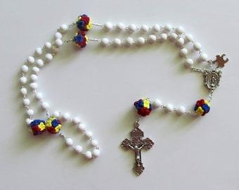Autism Flower Ball Rosary, clay, handmade