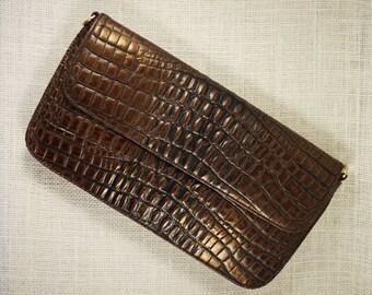 Preston & New York Brown Leather Alligator Embossed Clutch