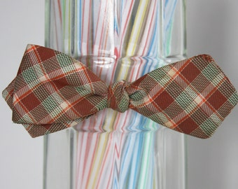Mad for this Plaid Self Tie Bow Tie