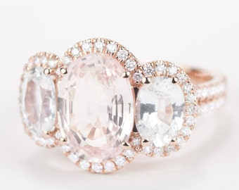 Certified Peach Pink Champagne Padparadscha Sapphire White Sapphire & Diamond Three Stone Halo Engagement Ring 18K Rose Gold