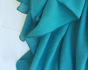 XL 48 X 48 Rich Teal Muslin Swaddling Blanket - Light & Airy Fabric - Perfect For A Snug Wrap