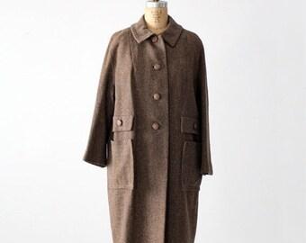 SALE 1950s wool swing coat, vintage tweed winter coat