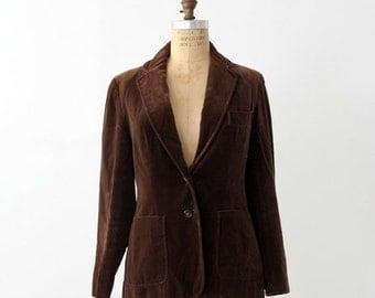 SALE 1970s velvet blazer by Evan Picone, brown jacket