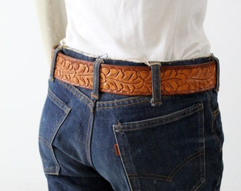 vintage tooled leather belt, brown leather belt small