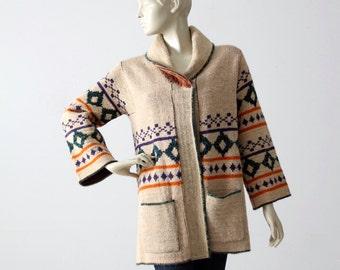 vintage hippie sweater, 1970s boho cardigan